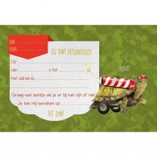 Set van 5 uitnodigingskaartjes + omslagen - Schildpad